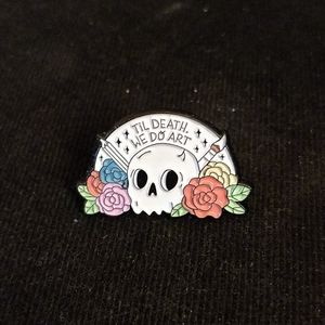 Art and artists skull and flowers pin